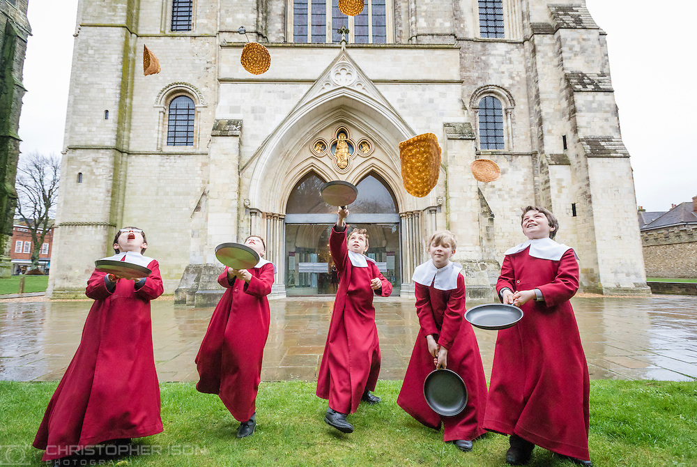 Image provide free for editorial use.<br /> <br /> Chichester Cathedral&rsquo;s Choristers have been enjoying some pancake fun in Chichester Cathedral in preparation for Shrove Tuesday. (&lsquo;This is much better than assembly&rsquo; they said&hellip;) Picture date: Monday February 27, 2017.<br /> <br /> Shrove Tuesday is the day before the first day of Lent known as Ash Wednesday. Traditionally on Shrove Tuesday Christians use up food that could not be eaten during Lent, which was a time for fasting and penance. Pancakes were an easy way to use up eggs, butter and milk as well as all the (lovely) things such as chocolate, sugar and cream.<br /> <br /> During term time, the choristers sing almost every day in Chichester&rsquo;s historic Cathedral, performing to the highest professional standards, developing confidence and ambitions as they progress but, as the photo shows, they clearly have time for fun too.  The boys are educated at the Prebendal School, one of Sussex&rsquo;s leading independent schools for boys and girls aged 3-13<br /> <br /> This coming weekend Chichester Cathedral is offering an exciting opportunity for boys who love to sing.  On Saturday 4th March, from 1pm to 4pm, the Cathedral will be hosting a &lsquo;Chorister Open Day&rsquo; where boys and their families can come and find out more about the life of a chorister.  The afternoon will include joining the choristers for a vocal workshop, a tour of Prebendal School, the opportunity to meet and chat with the parents of current choristers and finally the chance to sing with the choir at Evensong in the Cathedral. This event is primarily for boys in Years 2 and 3 but parents with younger boys are very welcome to come along too, previous formal singing experience is not necessary - any boy who loves to sing is welcome.  Visit http://www.chichestercathedral.org.uk/worship/cathedral-choir/ for more details.<br /> <br /> Enquiries from press and media representatives are very welcome. Please contact t