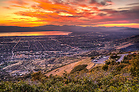 Summer sunset at Squaw Peak looking over Orem, in Utah Valley.