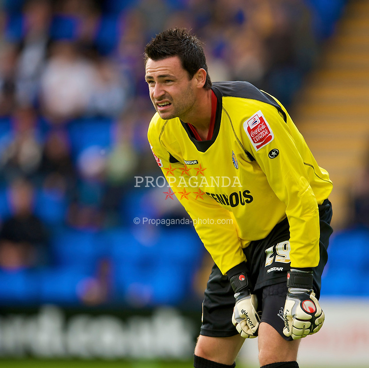 SHREWSBURY, ENGLAND - Saturday, September 5, 2009: Shrewsbury Town's goalkeeper Steve Phillips in action against Bradford City during the League Two match at the New Meadow. (Photo by David Rawcliffe/Propaganda)