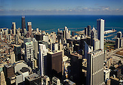 Image of the Chicago, Illinois skyline and Lake Michigan from Willis Tower, American Midwest