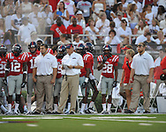 Ole Miss Coach Hugh Freeze at Vaught-Hemingway Stadium in Oxford, Miss. on Saturday, September 1, 2012. (AP Photo/Oxford Eagle, Bruce Newman)..