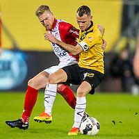 BREDA - NAC - FC Emmen , Voetbal , Jupiler League , Seizoen 2016/2017 , Rat Verlegh Stadion , 16-12-2016 , FC Emmen speler Jurjan Mannes (l) in duel met NAC speler Robbie Haemhouts (r)