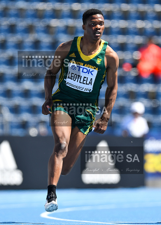 BYDGOSZCZ, POLAND - JULY 21: Gift Leotlela of South Africa in the heats of the mens 200m during day 3 of the IAAF World Junior Championships at Zawisza Stadium on July 21, 2016 in Bydgoszcz, Poland. (Photo by Roger Sedres/Gallo Images)