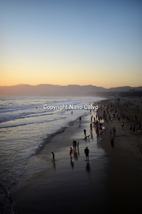 Santa Monica State Beach at sunset, California.