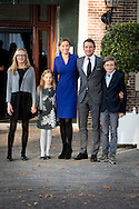 9-11-2014 - APELDOORN -  Doop Christening of Willem Jan ( 01-07-2013), son of Prince Floris and Princess Aimee, with daughters Magali and Eliane at Palace Het Loo in Apeldoorn. Prince Maurits, Princess Marilene and Anna, Lucas and Felicia van Lippe-Biesterfeld van Vollenhoven <br /> King Willem-Alexander and Queen Maxima and Princess Amalia and Princess Alexia and Princess Ariane arrive for the ceremony.   Arrival of king Willem alexander and queen Maxima and princess Amalia , Ariane and Alexia for the baptism of Willem Jan the child of princess Aimee and princes Floris .  COPYRIGHT ROBIN UTRECHT