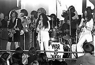 John Lennon Yoko Ono and Eric Clapton 1969  at London Lyceum.<br /> l-r: Eric Clapton, Delaney Bramlett, George Harrison?, Bonnie Bramlett, Yoko Ono, Alan White, Jim Gordon and John Lennon.