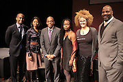 November 6, 2012- Harlem, NY:  (L-R) Author Dorian Warren, Publisher/Writer Grace Ali, Dr. Khalil Gibran Muhammad, Director, The Schomburg Center, Civil Rights Activist Monifa Bandele, Writer/Image Activist Michaela Angela Davis and Author William Jelani Cobbs at the U.S. Presidential Election Watch Party held at the Schomburg Center for Research in Black Culture on November 6, 2012 in Harlem, New York City. The Schomburg Center for Research in Black Culture, a research unit of The New York Public Library, is generally recognized as one of the leading institutions of its kind in the world. For over 80 years the Center has collected, preserved, and provided access to materials documenting black life, and promoted the study and interpretation of the history and culture of peoples of African descent. (Terrence Jennings)