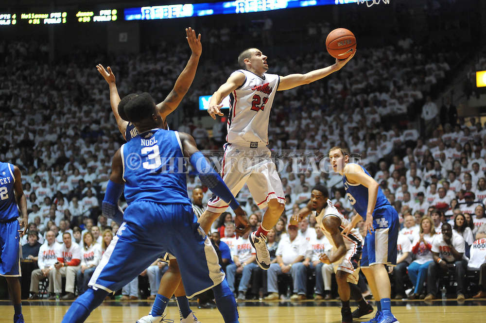 "Ole Miss' Marshall Henderson (22) vs. Kentucky at the C.M. ""Tad"" Smith Coliseum on Tuesday, January 29, 2013.  (AP Photo/Oxford Eagle, Bruce Newman).."