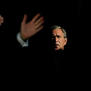 President Bush awaits his introduction during a campaign stop Tuesday, September 14, 2004, in Denver, Colorado (CO)...Photo by Khue Bui
