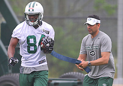 May 24, 2012; Florham Park, NJ, USA; New York Jets wide receiver Stephen Hill (84 works with coaches during the New York Jets OTA at their training facility.