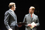 26/03/2012. London, UK. Playful Productions and Michael Alden present the stage production of The Kings Speech, by David Seidler, at Wyndhams Theatre, London.Picture shows: Charles Edwards as Bertie and Daniel Betts as David, King Edwards VIII. Photo credit : Tony Nandi