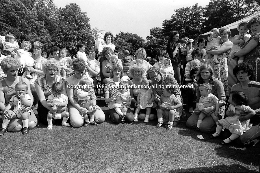 Baby show. 1983 Yorkshire Miner's Gala. Barnsley