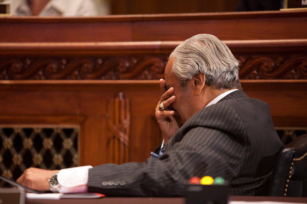 Rep. Charles Rangel (D-NY) wipes his eyes during a hearing of the House ethics committee on Capitol Hill on Thursday, November 18, 2010 in Washington, DC.