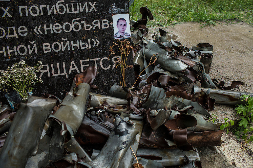 AVDIIVKA, UKRAINE - JULY 10, 2016: A monument to civilians killed in fighting is comprised of artillery fragments in Avdiivka, Ukraine. The mission tracks violations of the Minsk-II ceasefire agreement, among other tasks. CREDIT: Brendan Hoffman for The New York Times