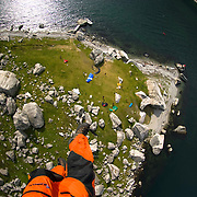Landing in after another amazing wingsuit BASE Jump from 3000' high Kjerag.  Lysefjorden, Norway.