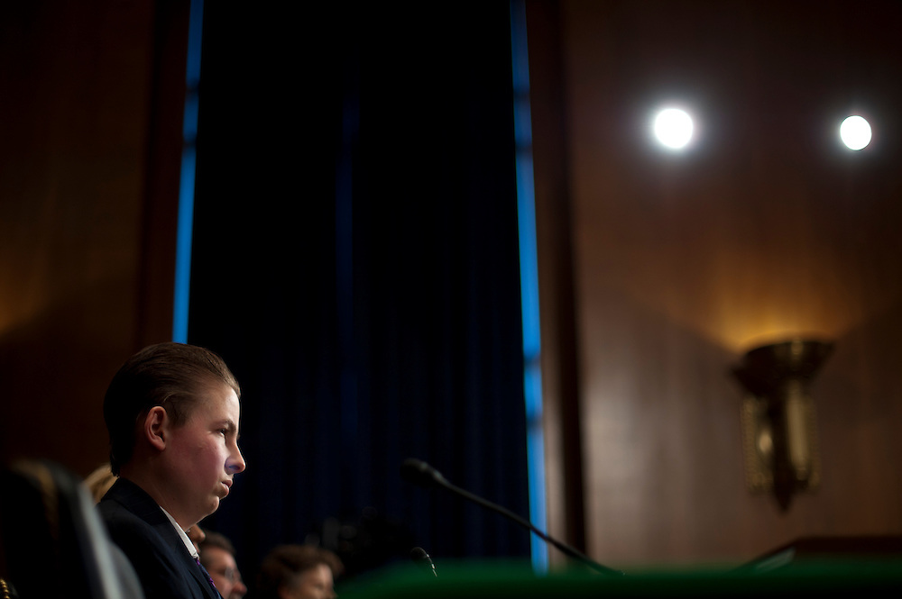 """Trevor Schaefer, youth ambassador and founder of Trevor's Trek Foundation testifies during an Environment and Public Works Committee hearing on """"Disease Clusters and Environmental Health."""""""