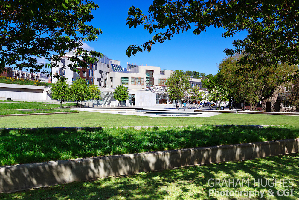 Scottish Parliament Building With Blue Sky And Green Foliage On Trees