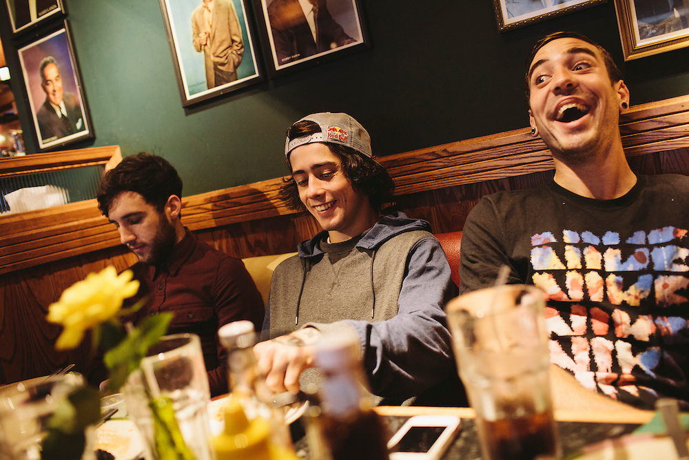 Scott Quinn, Kriss Kyle and Maxime Chaveron have a late breakfast in a local chain of Frankie and Benny's.