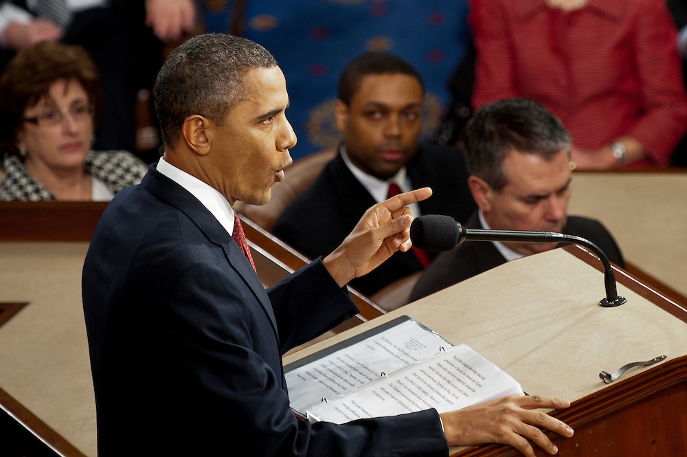 President BARACK OBAMA delivers his third State of the Union address in the House chamber to a joint session of Congress on Tuesday night. Obama spoke about keeping alive the American dream and pledged to fight obstruction by congressional Republicans.