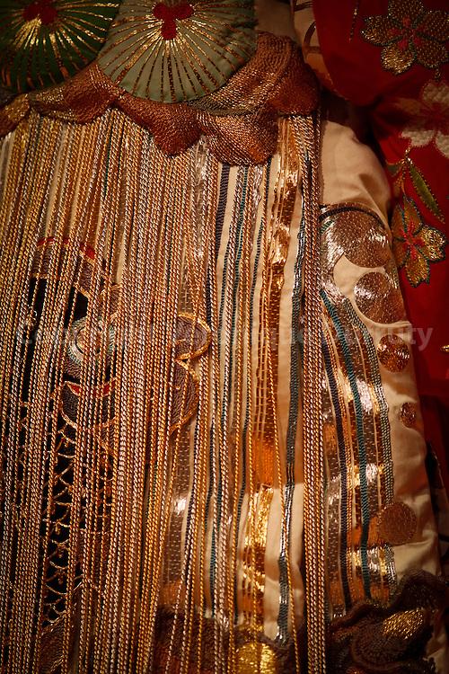 Traditional Japanese theater : Kabuki . Detail of a costume. Tokyo, Honshu, Japan  // theatre traditionnel japonais, : Kabuki. Détail de costume de scène. Tokyo, Honshu, Japon
