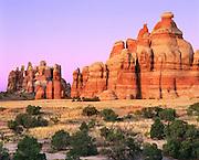 0303-1027 ~ Copyright:  George H. H. Huey ~ Sandstone formations in Chesler Park at dusk.  [Cedar Mesa sandstone]. The Needles District.  Canyonlands National Park, Utah.