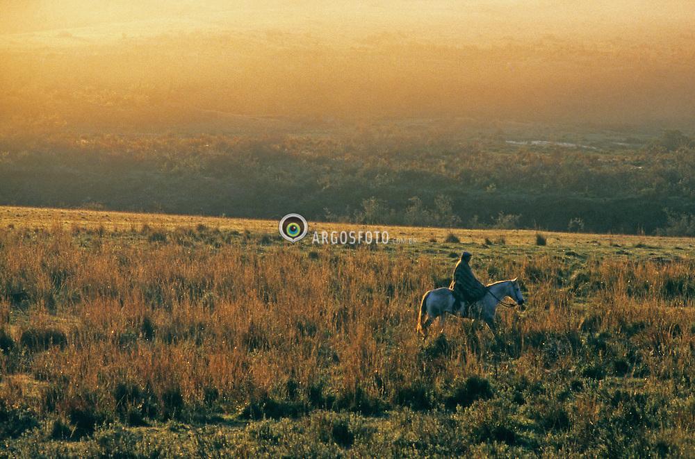 Gaucho saindo a cavalo para trabalhar no campo protegido com um poncho. Gaucho  e uma denominacao de um tipo de campones ligado a atividade pecuaria nos pampas. Gaucho going to work by horse early winter morning in the Pampa Land . Gaucho  is a term commonly used to describe residents of the South American pampas, chacos. Brazil, 2005.