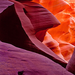 Pharoah sphinx shaped rock with fiery hair,  Lower Antelope Canyon, Page, Arizona