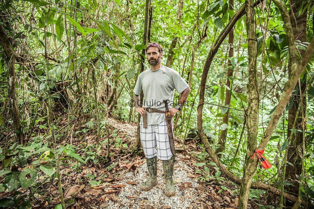 Matthew Hogan, of the two founders of Finca Bellavista, at the construction site of a tree house at Finca Bellavista