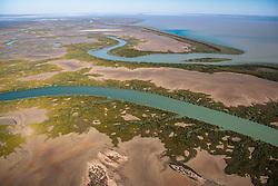 Aerial view over the Robinson River, looking back towards Point Torment.