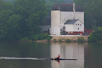 Rower in the mist. Delaware River between Lambertville and New Hope. Image taken with a Nikon D3x and 105 mm f/2.8 VR macro lens + TC-E III 20 teleconverter (ISO 100, 210 mm, f/9, 1/125 sec). Raw image processed with Capture One Pro 6 and Photoshop CS5.