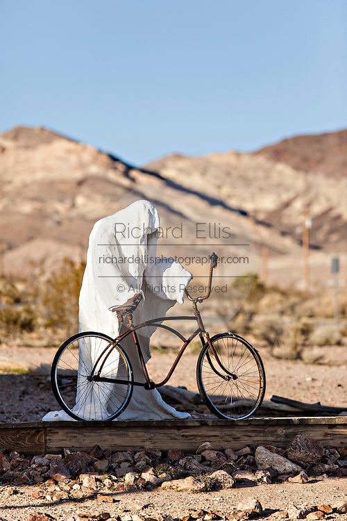 Public sculpture called Ghost Rider at the open air museum in Goldwell, NV.