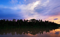 The Kinabatangan River at sunset, Sabah, Malaysia..