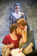 02/02/2012. London, UK.  Bloody Poetry by Howard Brenton at Jermyn Street Theatre. The Shelleys and Claire Clairemont fled from scandal in London to Lake Geneva, where Claire introduced the Shelleys to her lover, Lord Byron. Picture features Rhiannon Sommers as Mary Shelley, Joe Bannister as Percy Bysshe Shelley and (behind) Emily Glenister ad Harriet Westbrook.