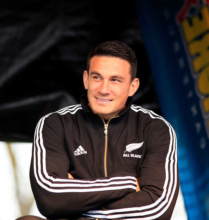 ALL Black Sonni Bill Williams during question time on stage when the New Zealand All Blacks visited Centennial Park, Christchurch, New Zealand, Sunday, September 18, 2011.  Credit:SNPA / Pam Johnson