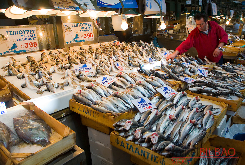 Fish shop in central market athens greece europe for Central fish market