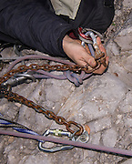 A belay bolt on Monte Brento which failed during a haul