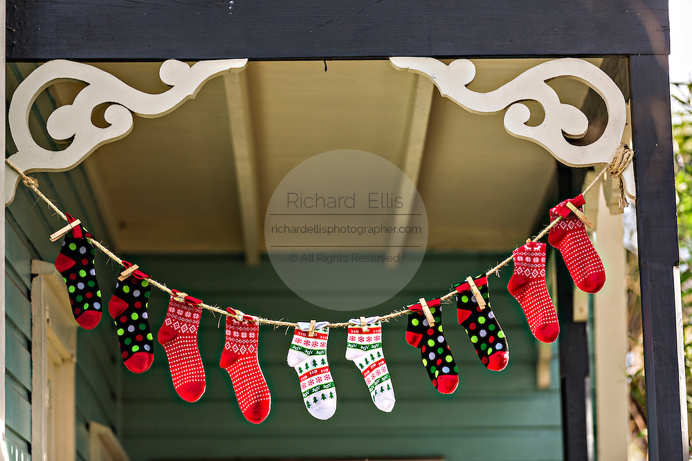 Christmas decorations in the historic district in St. Augustine, Florida. St Augustine is the oldest city in America.