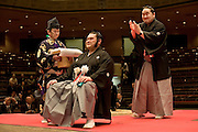 "ASASHORYU - SUMO wrestler with the highest rank of ""YOKOZUNA"", on the sumo ring of the TOKYO kyokai (sumo stadium), clapping hands for the wrestler Toki, after cutting some of his hair as part of Toki's retirement ceremony. Tokyo 27 January 2007"