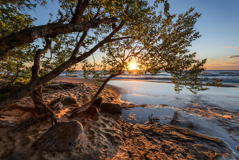 The Hurricane River meets Lake Superior at sunset.<br /> Pictured Rocks National Lakeshore<br /> Michigan's Upper Peninsula