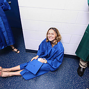 Thomas McKean High School graduate Yesenia Rosenquist prepare to participate in a graduation processional prior to McKean 49th commencement exercises Saturday, June 06, 2015, at The Bob Carpenter Sports Convocation Center in Newark, Delaware.