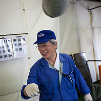 Hisao Kitawaki (73 years old, in 8th year of working for Kato company) is an elderly worker at Kato (a light industry company) in Nakatsugawa, Japan, Monday 21st June 2010. Kato company has a workforce of 100 people, 50% of whom are 60 years of age or older. The elderly work force earn JPN ¥800-1,000 per hour, but receive no annual bonus or pay rise.