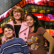 Lehman Brothers HQ, NYC. Anne Erni photographed with her children for a story about working mothers.