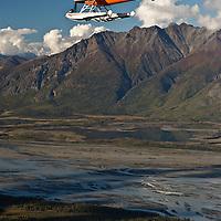 Turbo Beaver flight seeing over Knik Glacier on a crisp autumn day, NR