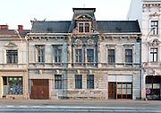 Elaborate facade of building on Nadrazni (railway station) street in Ostrava, Czech Republic