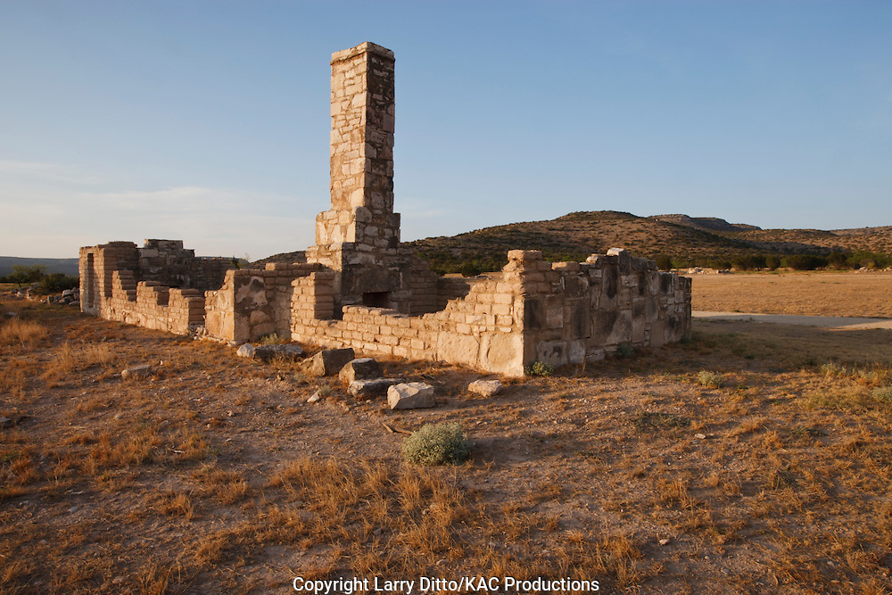 Ruins at historic Fort Lancaster near Ozona, Texas