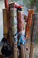 """Henro Walking Sticks or Staffs - """"Henro"""" is the Japanese word for pilgrim - who are recognizable by their special walking sticks, white clothing and straw sedge hats."""