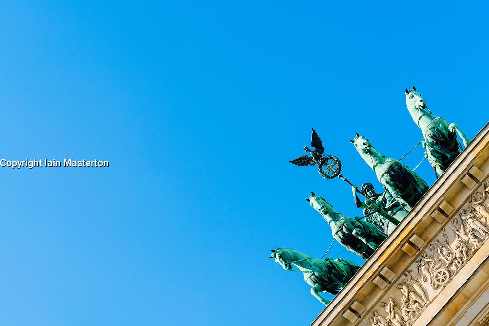 Detail of  Quadriga statue on top of Brandenburg Gate in Berlin Germany