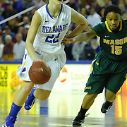Delaware Guard Lauren Carra (22) drive past George Mason Guard Rahneeka Saunders (15) in the second half of a regular season NCAA basketball game against George Mason Thursday, Jan 10, 2013 at the Bob Carpenter Center in Newark Delaware...Delaware (10-3; 1-0) defeated George Mason (5-8; 0-2) 62-27..Delaware is riding a four-game winning streak after defeating George Mason, St. John's in over-time on Jan. 2, Villanova (Dec. 29) and Duquesne (Dec. 30) to capture the 2012 Dartmouth Blue Sky Classic title.