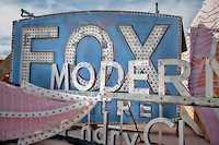 Fox Theatre sign at the Neon Boneyard sign museum in Las Vegas, Nevada, USA
