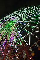 The Giant Sky Wheel at Odaiba puts on a beautiful night-time light performance, when it presents 120 kaleidoscopic variations on sixteen basic patterns.